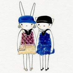 Fifi Lapin cute ,kawaii, whimsical bunny and cat cartoon illustration in pen and ink