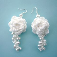 Hand Crochet  Beaded  White Cotton  Dangling  by CraftsbySigita on Etsy