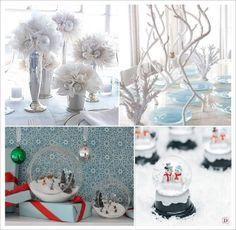 mariage hiver decoration table centre de table boule a neige aquarium tulle