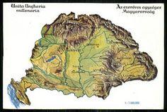 Az ezeréves egységes Magyarország; Unita Ungheria ... | Képcsarnok | Hungaricana Old World Maps, Budapest, Ww2, The Past, History, Animals, Tattoos, Board, Maps