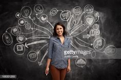 Foto de stock : Girl in front of social media icon chalkboard