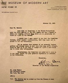 Rejection of Andy Warhol.