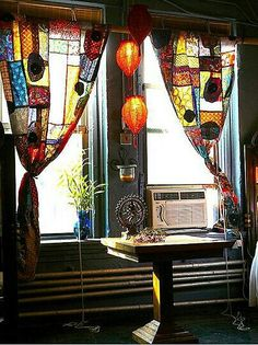 Lanterns & patchwork curtains for a bohemian feel