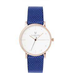 Laruze Paris L'electrique Lézard Blue Leather Watch found on Polyvore featuring jewelry, watches, navy blue, blue watches, leather-strap watches, blue strap watches, blue wrist watch and blue jewelry