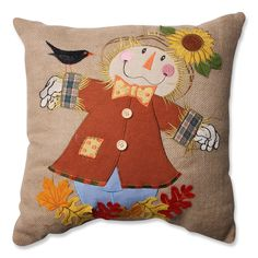 Pillow Perfect Harvest Scarecrow Burlap 16.5-inch Throw Pillow (574875), Tan (Novelty)