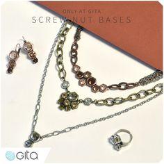 New unique stone settings at Gita-Jewelry! Screw nut jewelry bases in a beautiful metallic colors. See more https://www.gita-jewelry.com/en/school/a/tutorial/?ContentID=956  #handmade #jewelry_making #Swarovski
