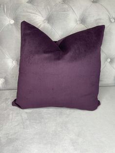 Soft Velvet Cushion Cover - Aubergine - 20 x 20 (50cm) / With Feather Insert