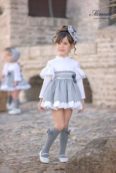 Miranda Textil Vestido Niña Gris The clothing culture is very old. Cute Little Girl Dresses, Dresses Kids Girl, Kids Outfits Girls, Toddler Girl Outfits, Cute Outfits, Dress Girl, Toddler Girls, Baby Girl Dress Patterns, Baby Dress Design