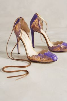 Guilhermina Scalloped Snakeskin Heels - anthropologie.com