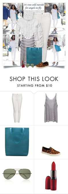 """Walk in Wonderland: White Out In NYC"" by nora-nazeer ❤ liked on Polyvore featuring Topshop, T By Alexander Wang, Steve Madden, Ray-Ban and MAC Cosmetics"
