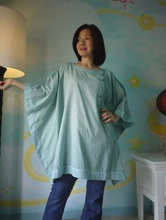 Summer Poncho...Stripe Light  Cotton Rectangular by beyondclothing, $38.00