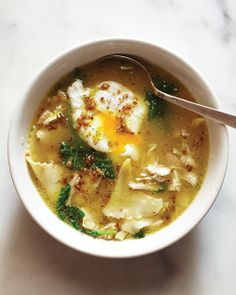 Chicken Soup with Poached Eggs