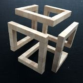 Geometric Sculpture, Abstract Geometric Art, Arts And Crafts Furniture, Furniture Design, Diy Wood Projects, Woodworking Projects, Cube Design, Steel Sculpture, Wooden Wall Art