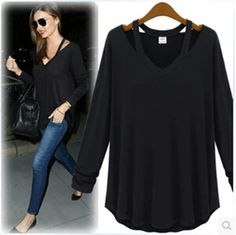 emale cotton modal T shirt girl's solid fashion long sleeve tees women's early autumn oversize clothing 4XL