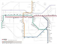 Mapa do metrô de Santiago.