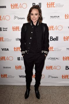 Pin for Later: The Prettiest Dresses We Ever Did See Are on the Red Carpet at TIFF Ellen Page Ellen Page kept it casual and cool in her striped bomber jacket.