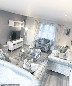 Mrs Hinch shares stunning images of her newly decorated home - - Sophie Hinchliffe has given fans a glimpse of her completed white and grey home in Essex which comes complete with an eye-catching mirror propped on the wall and grey velvet sofas.