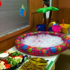 Pot luck + party buffet + kiddie pool filled with ice for cold dishes Next work shower! Aloha Party, Luau Theme Party, Tiki Party, Hawaiian Themed Parties, Hawaiin Party Food, Hawaiian Theme Party Food, Beach Themed Food, Pool Party Themes, Theme Parties
