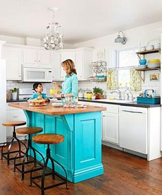 Indiana lifestyle blogger Shannan Martin and her husband, Cory, relied on secondhand finds and low-cost materials to build a thrifty country-style kitchen for their busy family of six.