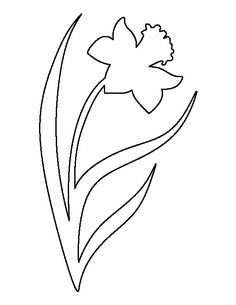 Daffodil pattern. Use the printable outline for crafts, creating stencils, scrapbooking, and more. Free PDF template to download and print at http://patternuniverse.com/download/daffodil-pattern/