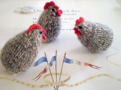three french hens for my three little (actually one not so little!) chicks!   French hen Using 4 ply (fingering) yarn and 2mm (US size 0) do...