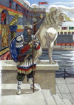 Varangian guardsman standing on the watch before see walls of the Boukoleon palace.Walls of the palace are painted with bright colors as suggested by mi. On the watch before Boukoleon palace Historical Art, Historical Pictures, Byzantine Army, Vikings, Varangian Guard, Empire Romain, Roman History, Dark Ages, Medieval Fantasy