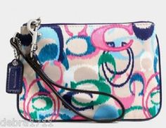New Coach, Signature Stripe Ikat Print Small Wristlet Baguette, Pink Blue, Blue And White, Ikat Print, Indie Brands, Coach Purses, Printing On Fabric, Auction, Jun