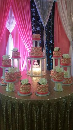 15 tier Quinceañera cake with fountain and columns! Pink and white using buttercream icing. Sweet 15 Cakes, Sweet Sixteen Cakes, Sweet 16 Decorations, Quince Decorations, 16 Cake, Cupcake Cakes, Beautiful Cakes, Amazing Cakes, Quinceanera Cakes