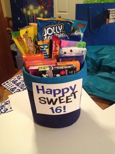 """Tanner's """"sweet"""" sixteen present! Sixteen different types of candy!"""