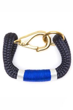Big, bold and classic. Putting a Maine spin on collegiate glamour, the Kennebunkport's heft and clean lines command attention and make it a natural statement piece. The style celebrates tradition, utility and substance. Includes authentic The Ropes of Maine charm. 9mm Navy Yacht Braid Rope Cobalt Blue & White.    Small - 6 to 6.5 inch wrist Medium - 7 to 7.5 inch wrist   Ropes Kennebunkport Bracelet  by THE ROPES OF MAINE. Accessories - Jewelry - Bracelets Minnesota