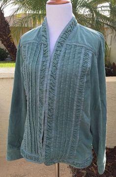 Womens CHICO'S Jacket Teal Blue Fine Wale Corduroy Ruched Blazer Size 3 #Chicos #BasicJacket