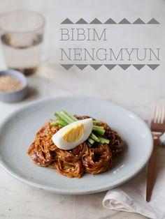 Bibim Nengmyun (Buckwheat noodles tossed with hot pepper sauce)