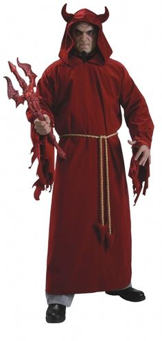 Rule the realm of demons with this classic Devil Lord costume this Halloween. Includes red hooded robe with attached horns and rope belt. Buy online from Canada