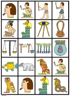 free printable ancient egypt cards for lotto style family game on PrintableKidStuff.com