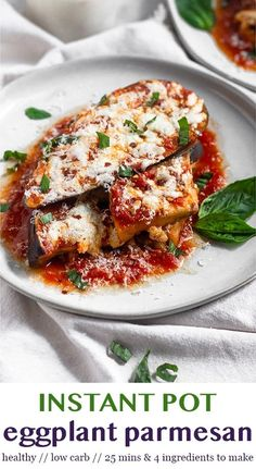Healthy Instant Pot Eggplant Parmesan requires one pot, 20 minutes, and only 4 ingredients. Sliced Eggplant, marinara sauce, mozzarella cheese, and salt are combined to make a delicious, comforting, healthy, and low carb meal everyone will love! - Eat the Gains #eggplantparmesan #instantpot #instantpotrecipes #vegetarianrecipes #healthyeggplantparmesan #healthyinstantpotrecipes