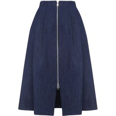 Whistles Zip Through Midi Skirt (545 BRL) ❤ liked on Polyvore featuring skirts, bottoms, faldas, jupe, dark denim, above the knee skirts, mid-calf skirts, blue midi skirt, pleated a line skirt and zipper skirt