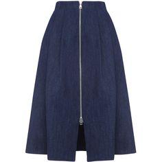 Whistles Zip Through Midi Skirt found on Polyvore