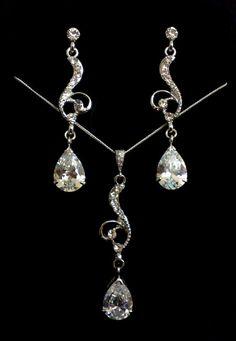 Silver Bridal Jewelry Set, Swarovski Crystal Dangle Necklace, Cz Teardrop Earrings, Victorian Wedding, SWIRL SET