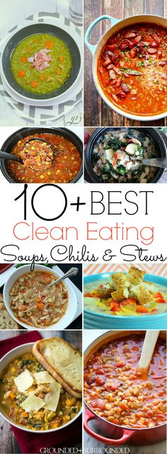 The 10+ BEST Clean Eating Soup, Chili & Stew Recipes | These healthy and quick one-pot meals are perfect for lunch or dinner! Hearty taco {crockpot}, easy minestrone, and low carb cheeseburger soups will tantalize your taste buds. Whether you want chicken, beef, or ground turkey these are for you or maybe you want to keep it vegetarian (vegan) with lentils and vegetables. Most are gluten free, dairy free, Paleo, and 21 Day Fix and Weight Watchers diet friendly.