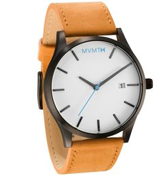 MVMT Watches Classic White/Black Tan Leather