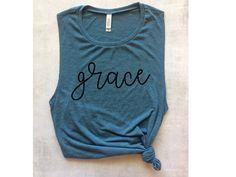 grace Christian blue muscle workout tank muscle tee