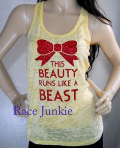 This Beauty Runs like a Beast Raceback Burnout tank in Yellow on Etsy, $24.95