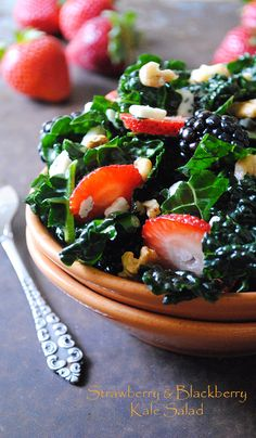 Strawberry and Blackberry Kale Salad. Delicious and naturally low in sugar! Ad
