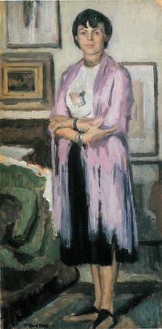 Clifford Hall 'Woman in Purple' 1950. Oil on canvas, 16 x 8 inches. This is another painting of Hanna - I think she looks a little cross in this one.