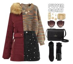 """Puffer Coats"" by allyssister ❤ liked on Polyvore featuring Rebecca Taylor, Topshop, Miss Selfridge, rag & bone, Kate Spade and Luv Aj"