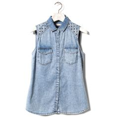 Pull & Bear Studded Denim Shirt ($35) ❤ liked on Polyvore featuring tops, shirts, tanks, blouses, denim top, blue top, shirts & tops, studded top and blue denim shirt