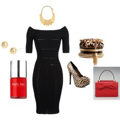 black dress with pop of red and cheetah!, created by paulette-lanni on Polyvore