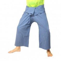 pantalones pescador tailandés de algodón grueso - de color azul claro