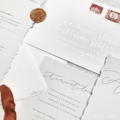 Simple luxury wedding invitations with silver calligraphy details, wax seal and torn edges. Nordic Wedding, Boho Wedding, Luxury Wedding Invitations, Wedding Stationery, Nordic Style, Wax Seals, Minimalist Wedding, Modern Calligraphy, Custom Design