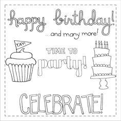 Happy Birthday Digital Doodle Stamps. $3.00, via Etsy.